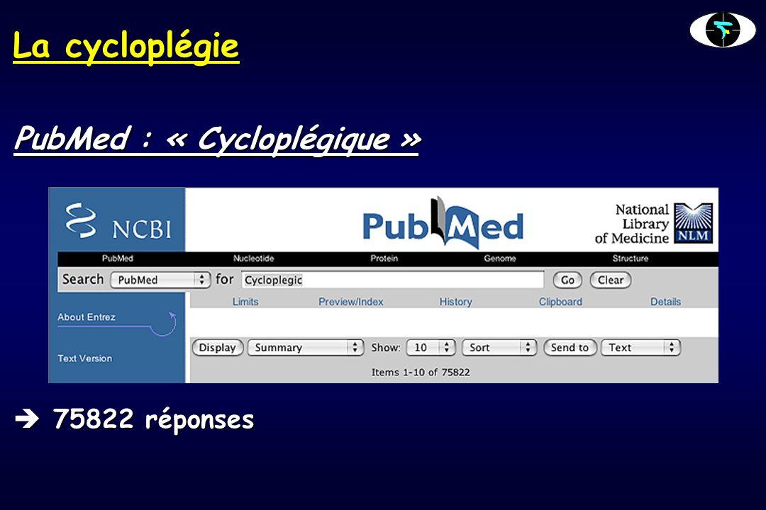 La cycloplégie PubMed : « Cycloplégique » 75822 réponses 75822 réponses