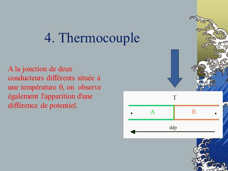 4. Thermocouple A la jonction de deux conducteurs différents située à une température, on observe également l'apparition d'une différence de potentiel