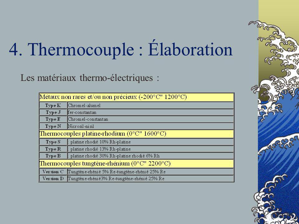 4. Thermocouple : Élaboration Les matériaux thermo-électriques :