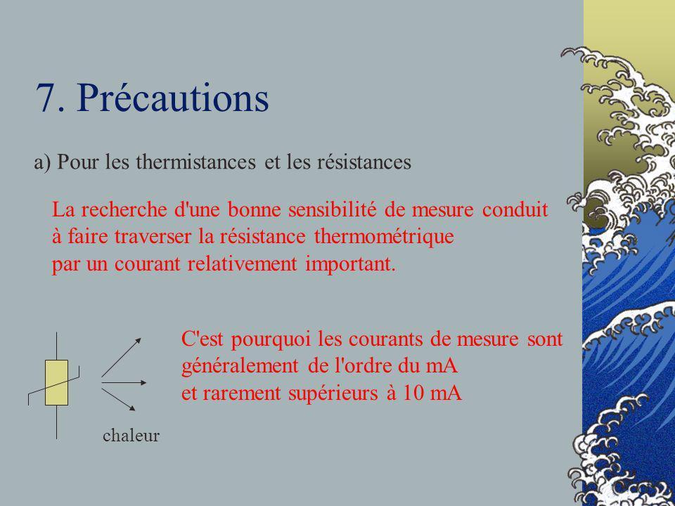 7. Précautions a) Pour les thermistances et les résistances La recherche d'une bonne sensibilité de mesure conduit à faire traverser la résistance the