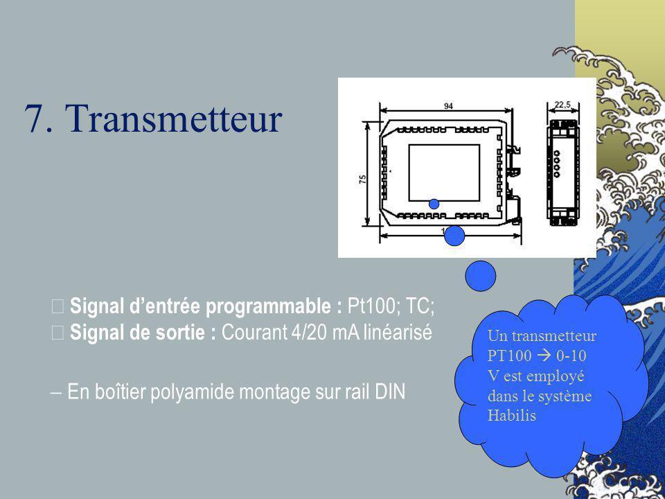 7. Transmetteur • Signal dentrée programmable : Pt100; TC; • Signal de sortie : Courant 4/20 mA linéarisé En boîtier polyamide montage sur rail DIN Un