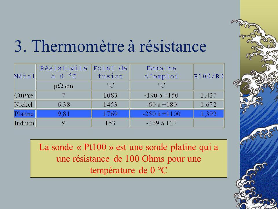 3. Thermomètre à résistance La sonde « Pt100 » est une sonde platine qui a une résistance de 100 Ohms pour une température de 0 °C