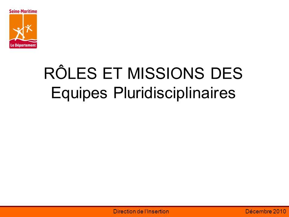 Direction de lInsertionDécembre 2010 RÔLES ET MISSIONS DES Equipes Pluridisciplinaires