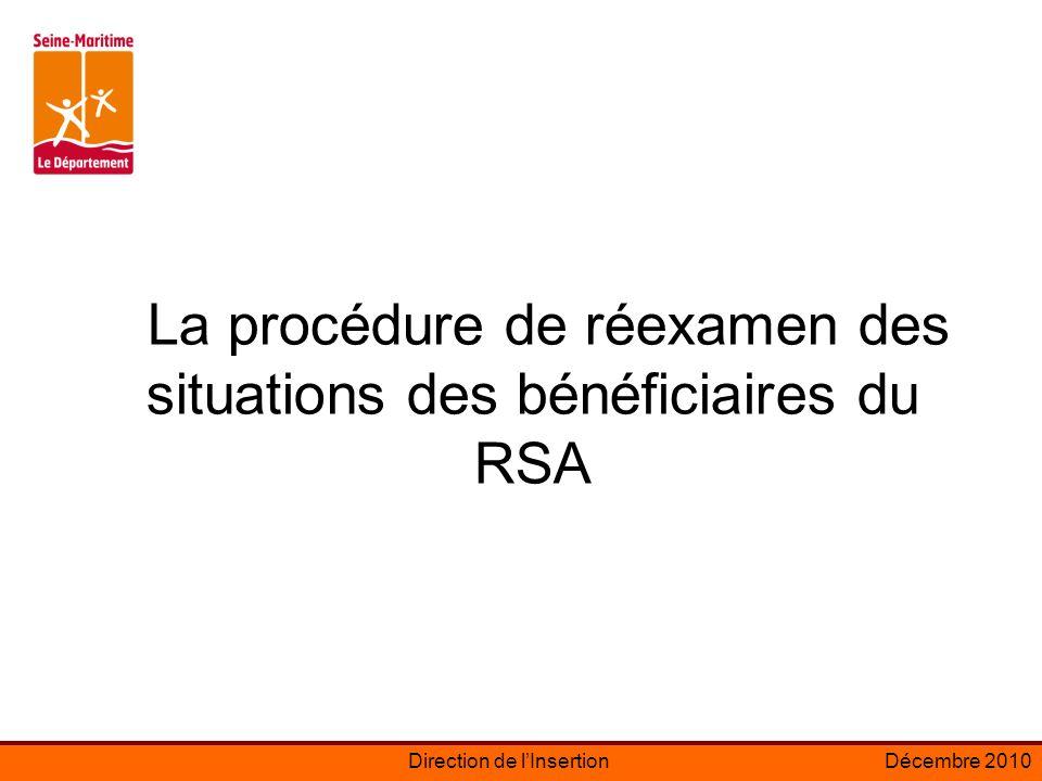 Direction de lInsertionDécembre 2010 La procédure de réexamen des situations des bénéficiaires du RSA