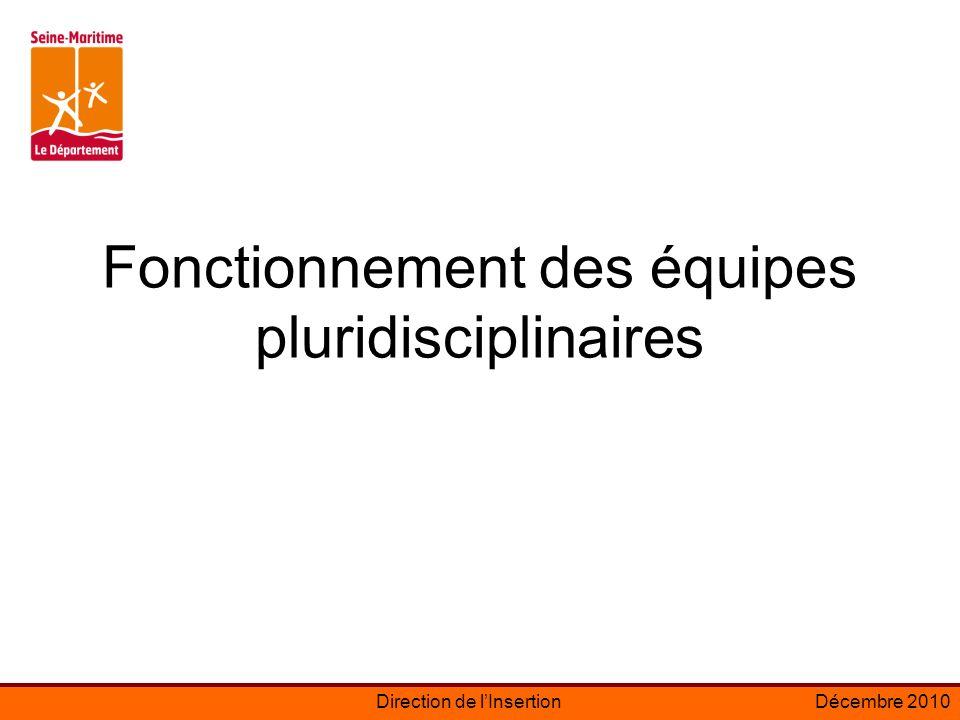 Direction de lInsertionDécembre 2010 Fonctionnement des équipes pluridisciplinaires