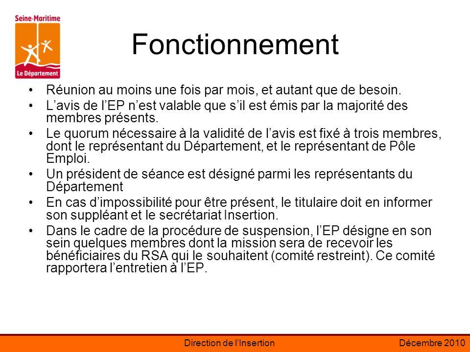 Direction de lInsertionDécembre 2010 Fonctionnement Réunion au moins une fois par mois, et autant que de besoin.