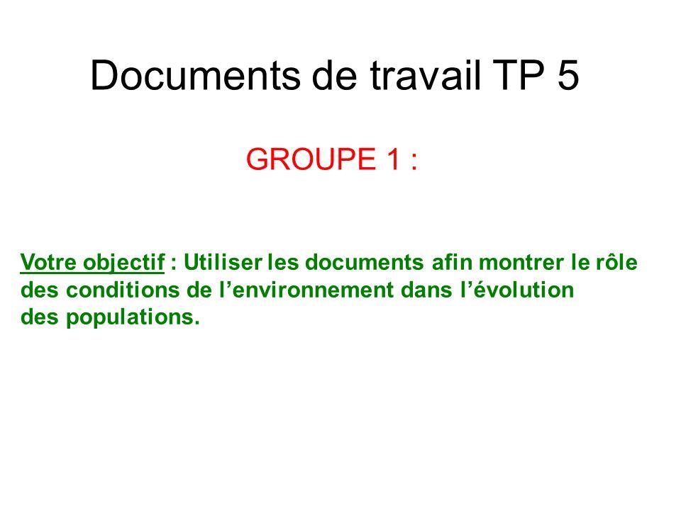 Documents de travail TP 5 GROUPE 1 : Votre objectif : Utiliser les documents afin montrer le rôle des conditions de lenvironnement dans lévolution des