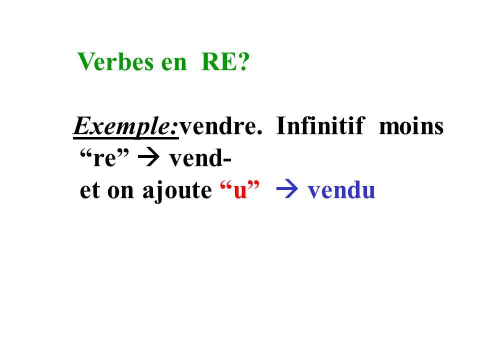 Verbes en IR? Exemple: finir. Infinitif moins ir fin- et on ajoute i fini
