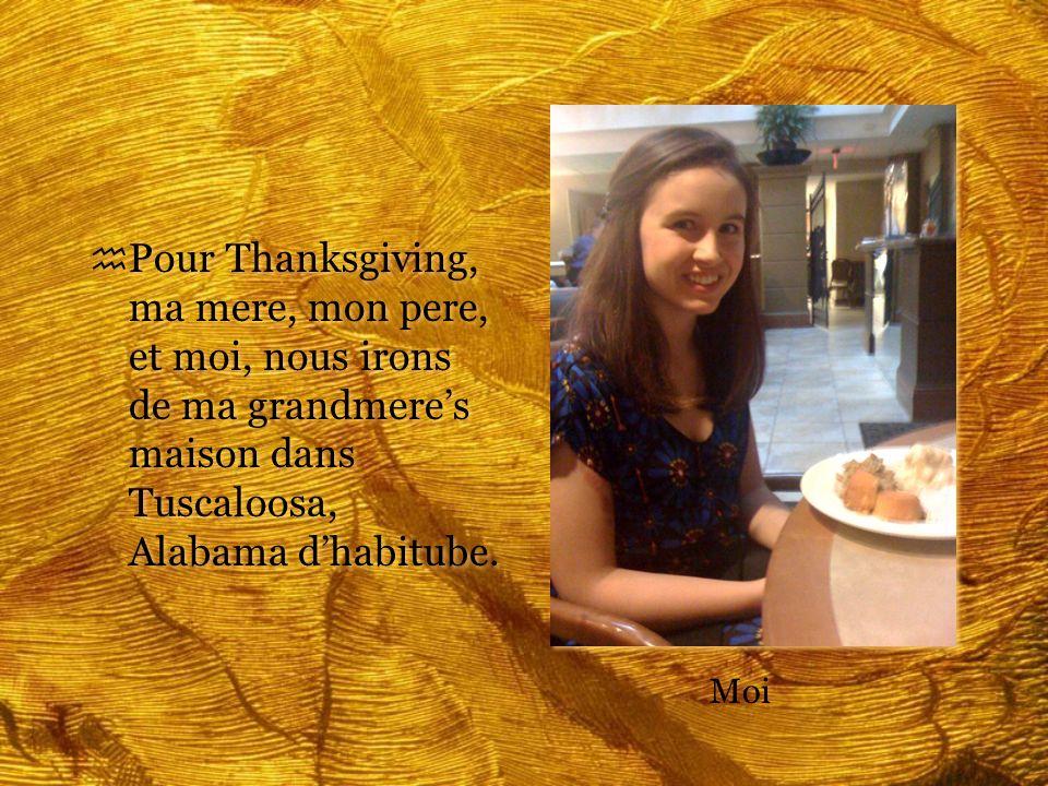 h Pour Thanksgiving, ma mere, mon pere, et moi, nous irons de ma grandmeres maison dans Tuscaloosa, Alabama dhabitube. Moi
