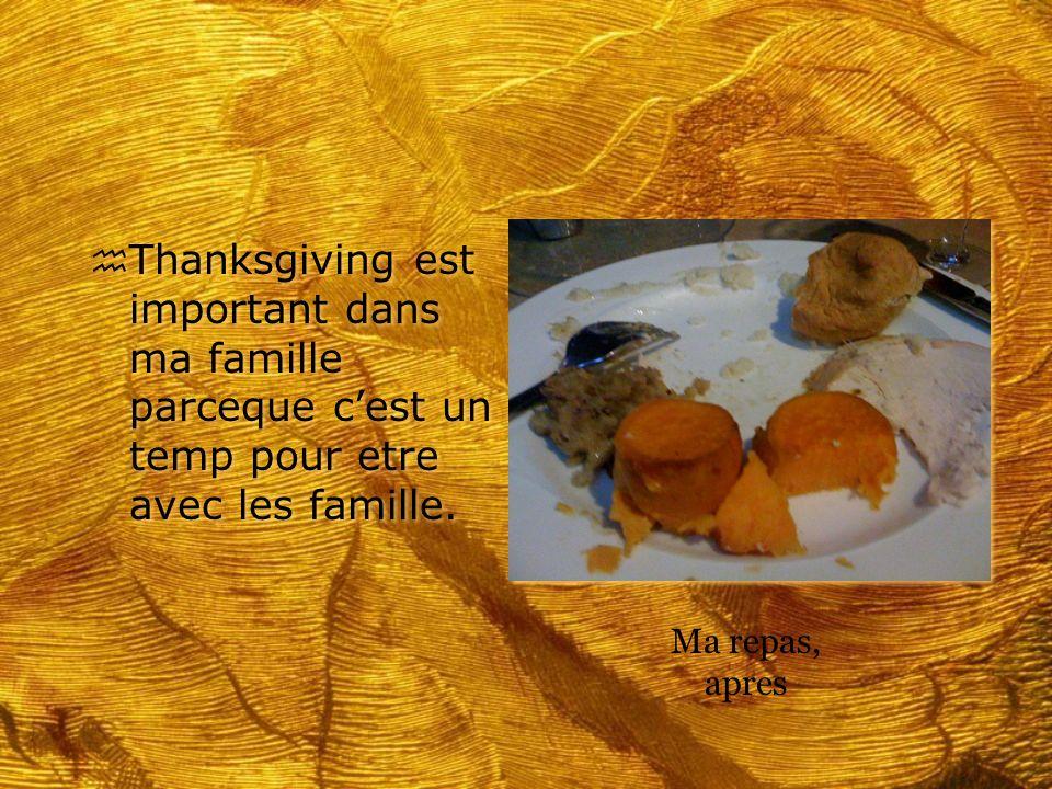 h Thanksgiving est important dans ma famille parceque cest un temp pour etre avec les famille. Ma repas, apres