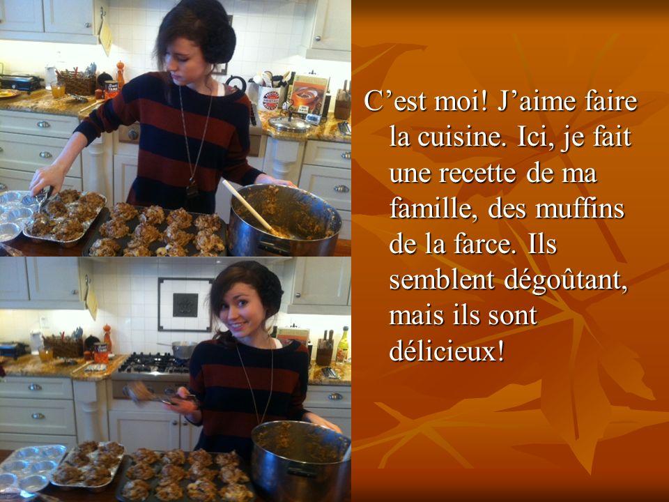 Cest moi. Jaime faire la cuisine. Ici, je fait une recette de ma famille, des muffins de la farce.