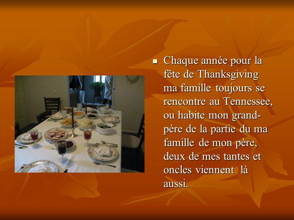 Chaque année pour la fête de Thanksgiving ma famille toujours se rencontre au Tennessee, ou habite mon grand- père de la partie du ma famille de mon père, deux de mes tantes et oncles viennent là aussi.