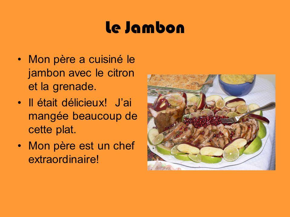 Le Jambon Mon père a cuisiné le jambon avec le citron et la grenade. Il était délicieux! Jai mangée beaucoup de cette plat. Mon père est un chef extra