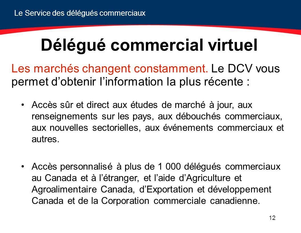 Le Service des délégués commerciaux 12 Délégué commercial virtuel Les marchés changent constamment. Le DCV vous permet dobtenir linformation la plus r