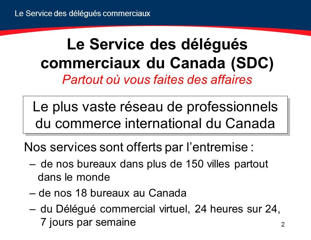 Le Service des délégués commerciaux 2 Le Service des délégués commerciaux du Canada (SDC) Partout où vous faites des affaires Nos services sont offert