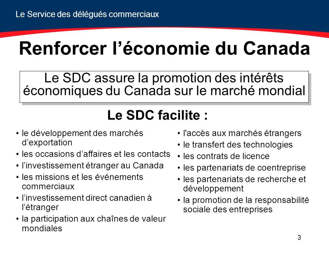Le Service des délégués commerciaux 3 Renforcer léconomie du Canada Le SDC assure la promotion des intérêts économiques du Canada sur le marché mondia