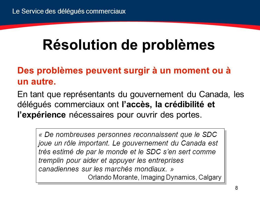 Le Service des délégués commerciaux 8 Résolution de problèmes Des problèmes peuvent surgir à un moment ou à un autre. En tant que représentants du gou