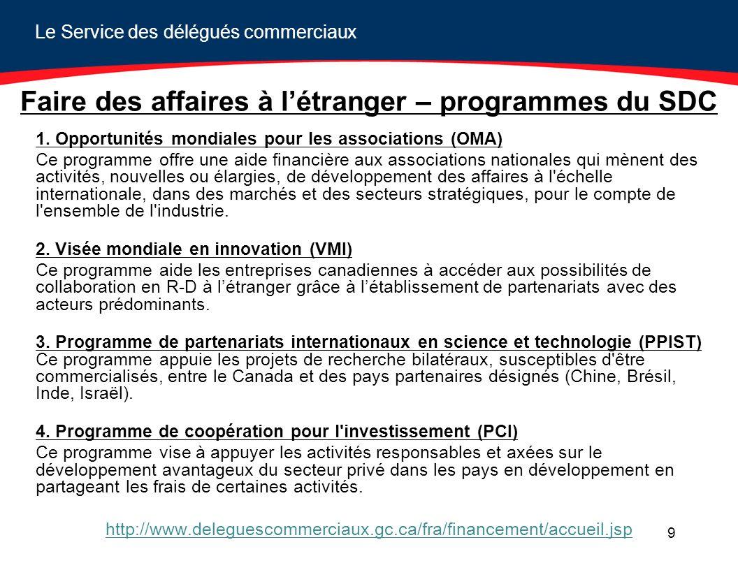 Le Service des délégués commerciaux 9 Faire des affaires à létranger – programmes du SDC 1.