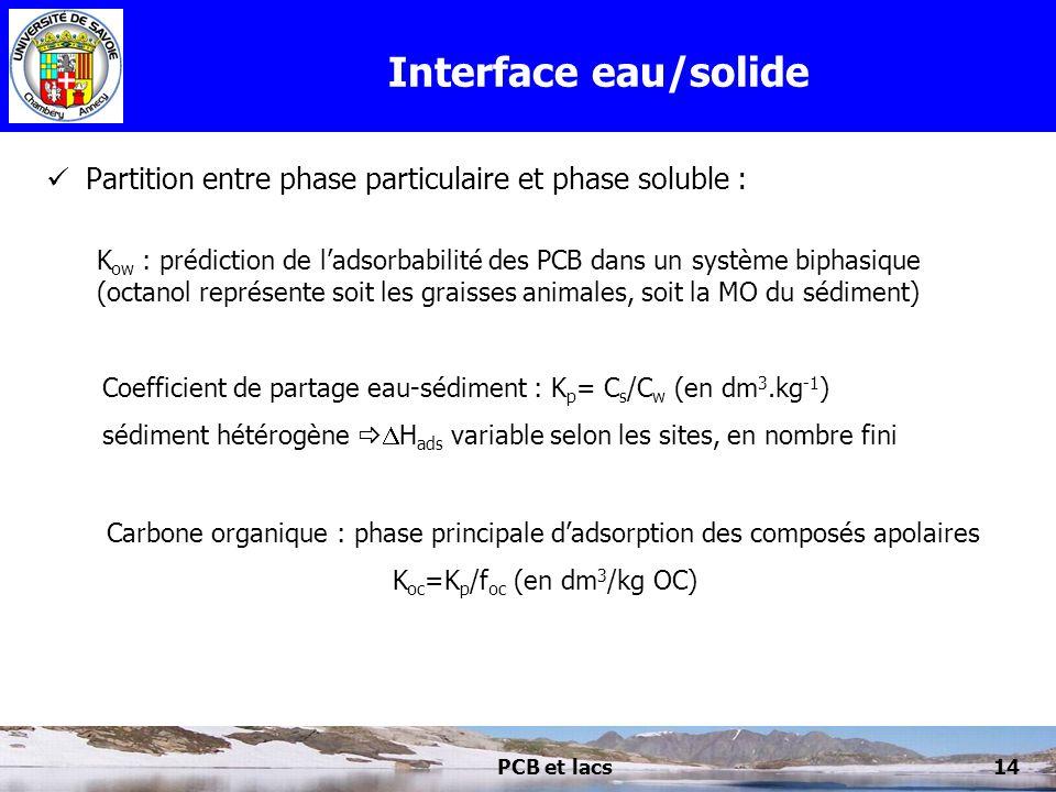 PCB et lacs14 Interface eau/solide Partition entre phase particulaire et phase soluble : K ow : prédiction de ladsorbabilité des PCB dans un système b