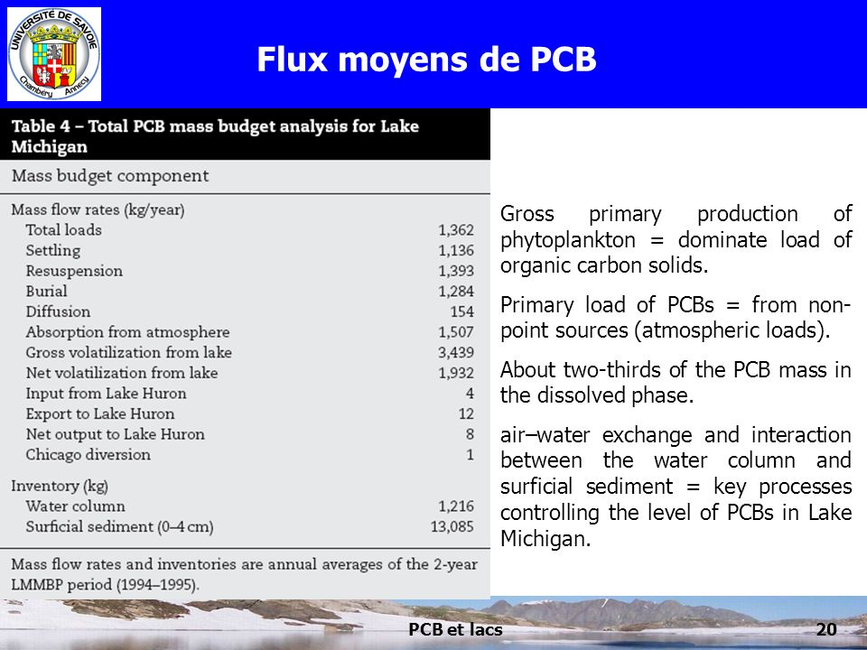 PCB et lacs20 Flux moyens de PCB Gross primary production of phytoplankton = dominate load of organic carbon solids. Primary load of PCBs = from non-