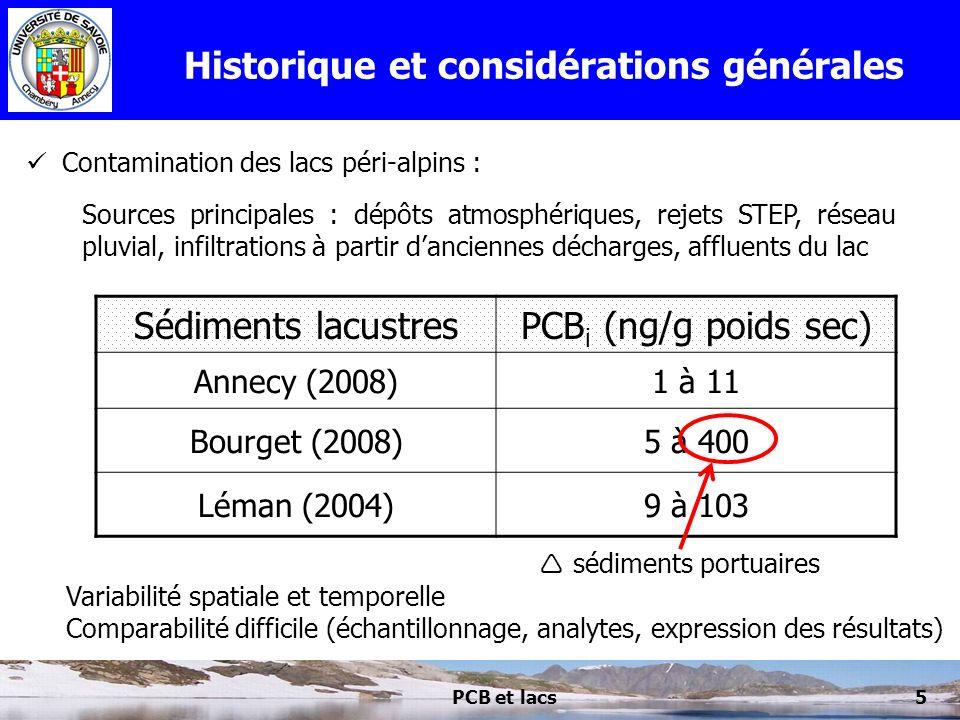PCB et lacs5 Historique et considérations générales Contamination des lacs péri-alpins : Sédiments lacustresPCB i (ng/g poids sec) Annecy (2008)1 à 11