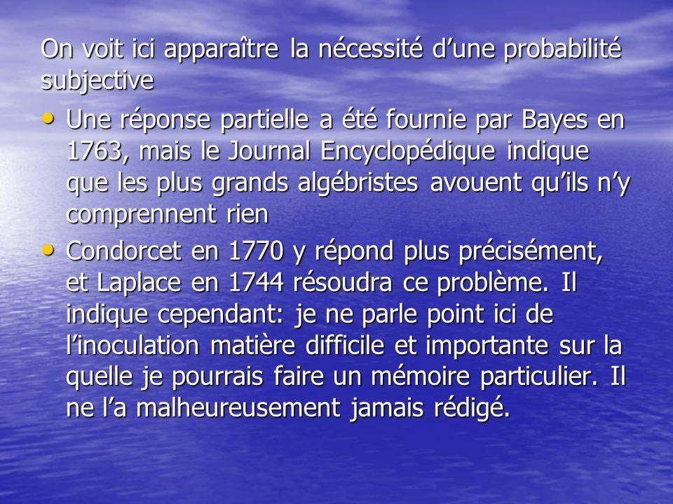 On voit ici apparaître la nécessité dune probabilité subjective Une réponse partielle a été fournie par Bayes en 1763, mais le Journal Encyclopédique