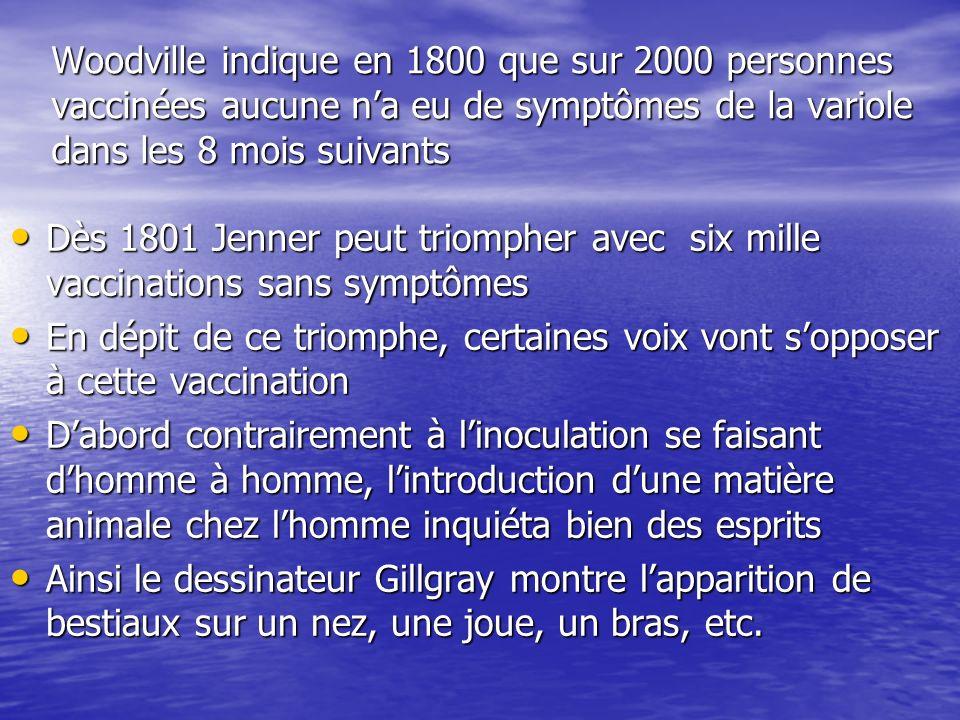 Woodville indique en 1800 que sur 2000 personnes vaccinées aucune na eu de symptômes de la variole dans les 8 mois suivants Dès 1801 Jenner peut triom