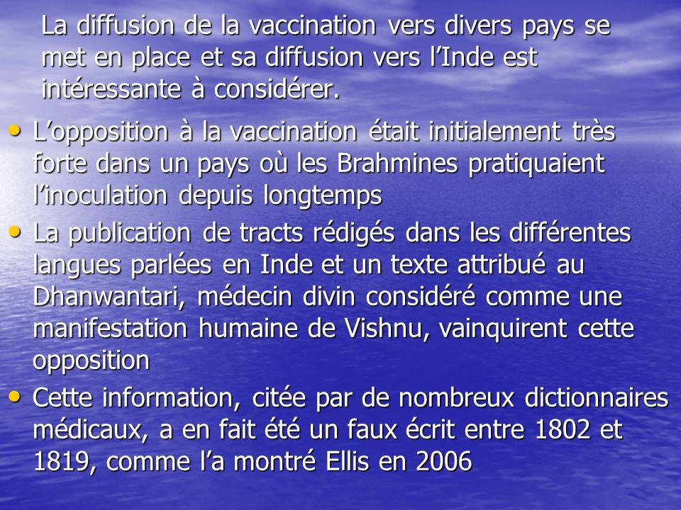 La diffusion de la vaccination vers divers pays se met en place et sa diffusion vers lInde est intéressante à considérer. Lopposition à la vaccination