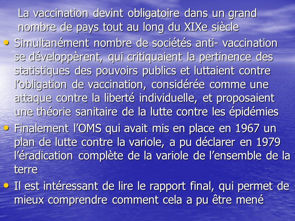 La vaccination devint obligatoire dans un grand nombre de pays tout au long du XIXe siècle Simultanément nombre de sociétés anti- vaccination se dével