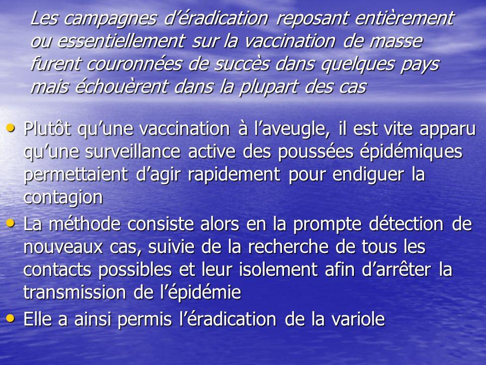 Les campagnes déradication reposant entièrement ou essentiellement sur la vaccination de masse furent couronnées de succès dans quelques pays mais éch