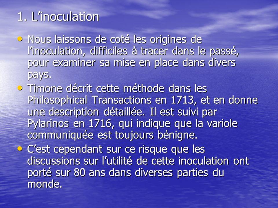 1. Linoculation Nous laissons de coté les origines de linoculation, difficiles à tracer dans le passé, pour examiner sa mise en place dans divers pays