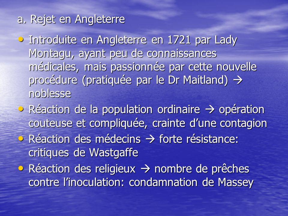 a. Rejet en Angleterre Introduite en Angleterre en 1721 par Lady Montagu, ayant peu de connaissances médicales, mais passionnée par cette nouvelle pro