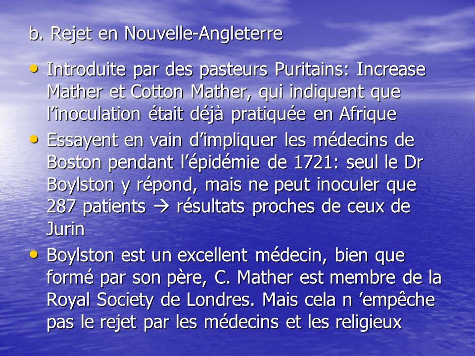 Dès 1722, Douglass, le seul médecin de Boston qui ait fait ses études en Europe attaque les inoculateurs.
