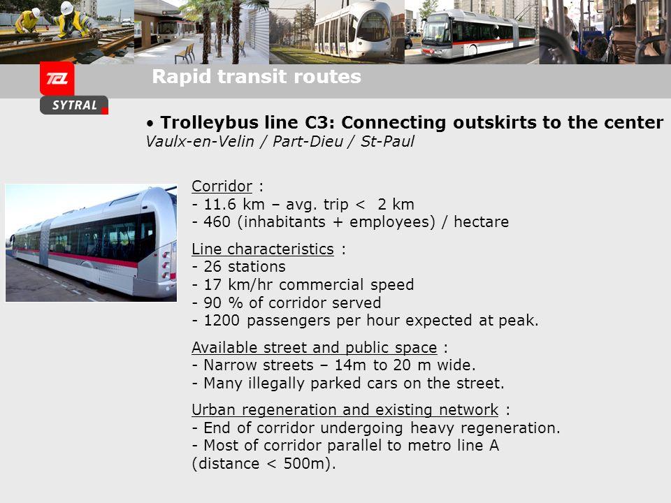 Nombre de trolleybus Cristalis : 103 17 véhicules (C1 et 51) 86 véhicules pour les autres lignes trolleybus Fréquence des lignes en trolleybus : Ligne 1 : 5 Ligne 4 : 10 Ligne 6 : 8 HP et 10 HC Ligne 11 : 7 HP et 9 HC Ligne 13 : 7 HP et 12 HC Ligne 18 : 6 HP et 9 HC Ligne 51 : 5 HP et 6 HC C1 : 10 HP et HC Coût de lexploitation : 6.00 /km Coût de la maintenance : 1.15 /km Aujourdhui, le trolleybus cristalis cest : Nb total voyageurs / jour semaine : 101 839 voyages Répartition du nb de voyages : Ligne 1 : 37 328 Ligne 4 : 6 102 Ligne 6 : 4 140 Ligne 11 : 9 972 Ligne 13 : 9 073 Ligne 18 : 16 787 Ligne 51 : 13 735 C1 : 4 702 Nombre de personnes affectées : à la maintenance bus : 281 à lexploitation bus : 2331 Coût du véhicule en 2007 : standard : 552 K - articulé : 995 K