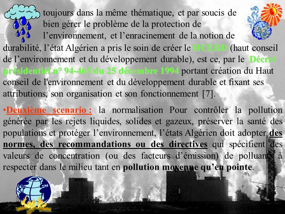 toujours dans la même thématique, et par soucis de bien gérer le problème de la protection de lenvironnement, et lenracinement de la notion de HCEDD Décret présidentiel n° 94-465 du 25 décembre 1994 durabilité, létat Algérien a pris le soin de créer le HCEDD (haut conseil de lenvironnement et du développement durable), est ce, par le Décret présidentiel n° 94-465 du 25 décembre 1994 portant création du Haut conseil de l environnement et du développement durable et fixant ses attributions, son organisation et son fonctionnement [7].