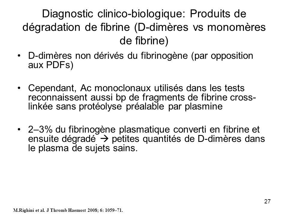 27 Diagnostic clinico-biologique: Produits de dégradation de fibrine (D-dimères vs monomères de fibrine) D-dimères non dérivés du fibrinogène (par opp