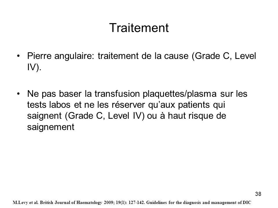 38 Traitement Pierre angulaire: traitement de la cause (Grade C, Level IV). Ne pas baser la transfusion plaquettes/plasma sur les tests labos et ne le