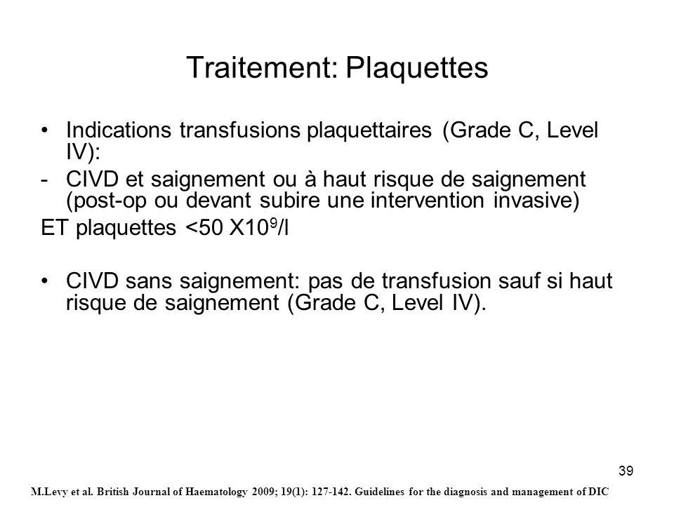 39 Traitement: Plaquettes Indications transfusions plaquettaires (Grade C, Level IV): -CIVD et saignement ou à haut risque de saignement (post-op ou d