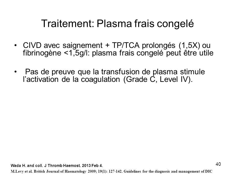 40 Traitement: Plasma frais congelé CIVD avec saignement + TP/TCA prolongés (1,5X) ou fibrinogène <1,5g/l: plasma frais congelé peut être utile Pas de
