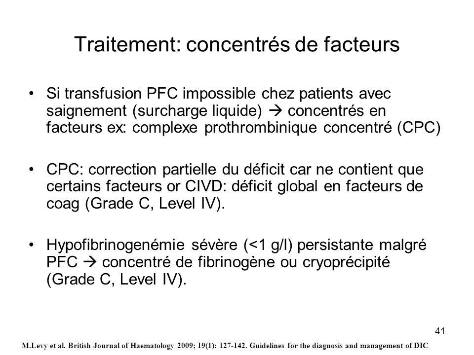 41 Traitement: concentrés de facteurs Si transfusion PFC impossible chez patients avec saignement (surcharge liquide) concentrés en facteurs ex: compl