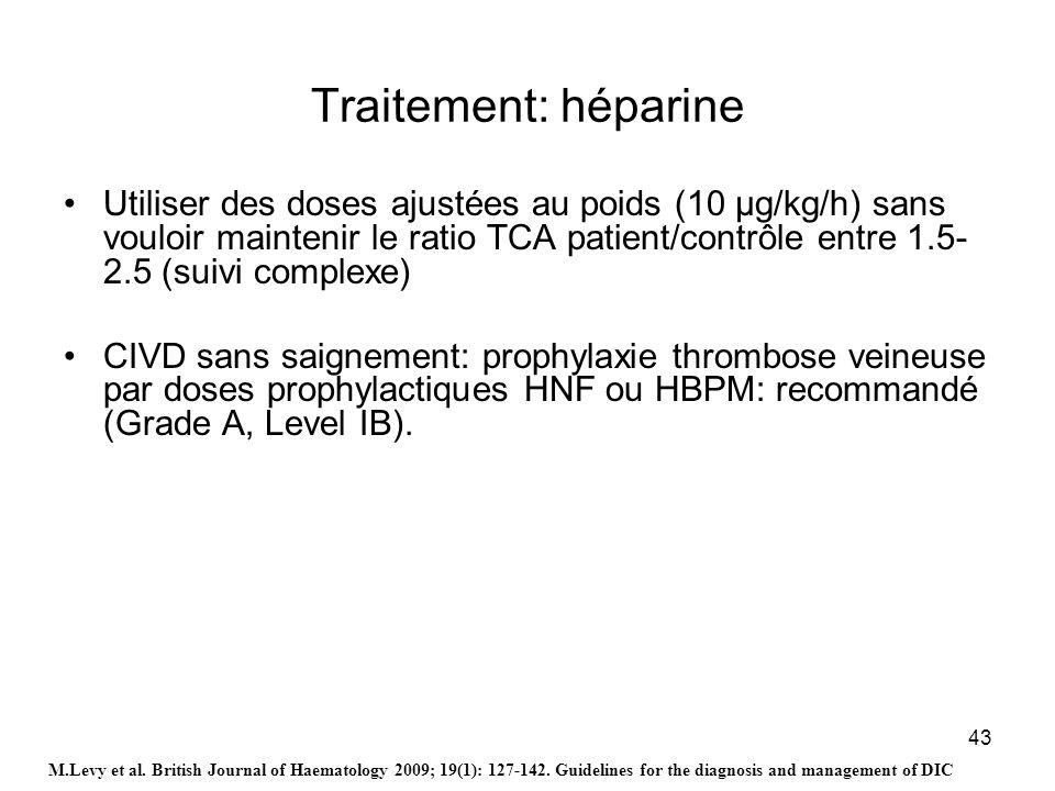 43 Traitement: héparine Utiliser des doses ajustées au poids (10 μg/kg/h) sans vouloir maintenir le ratio TCA patient/contrôle entre 1.5- 2.5 (suivi c