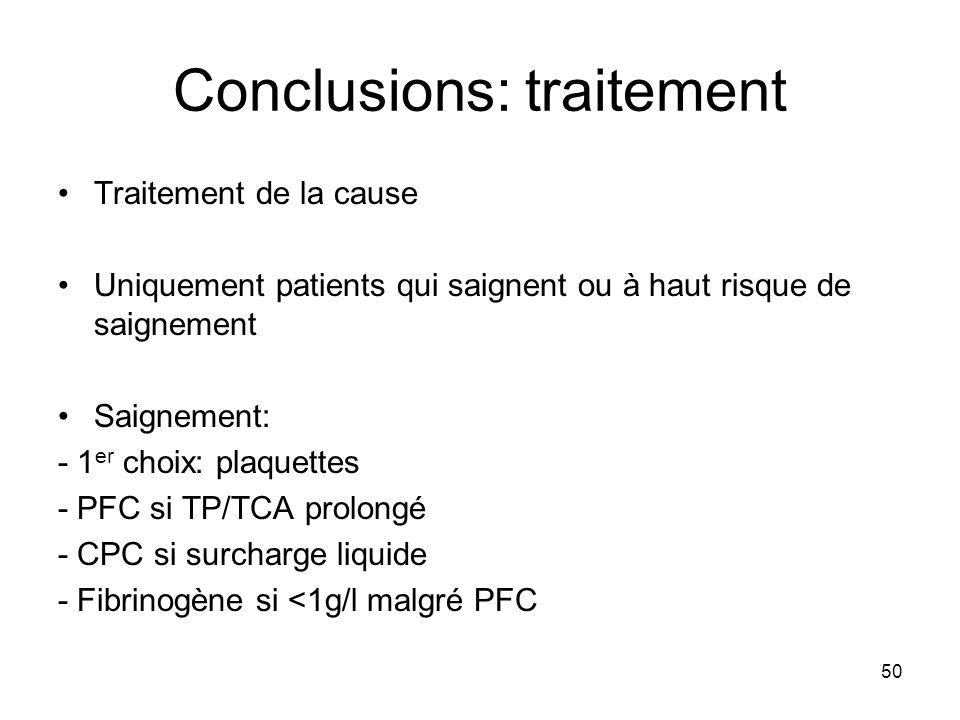 50 Conclusions: traitement Traitement de la cause Uniquement patients qui saignent ou à haut risque de saignement Saignement: - 1 er choix: plaquettes