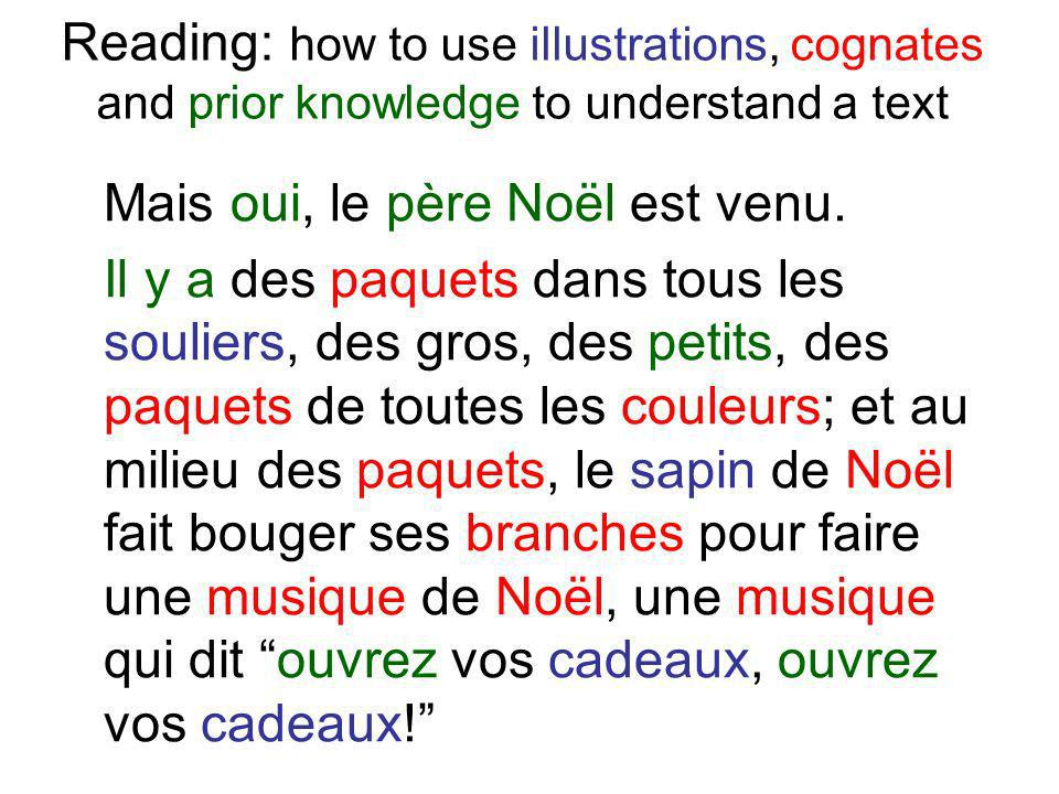 Reading: how to use illustrations, cognates and prior knowledge to understand a text Mais oui, le père Noël est venu. Il y a des paquets dans tous les