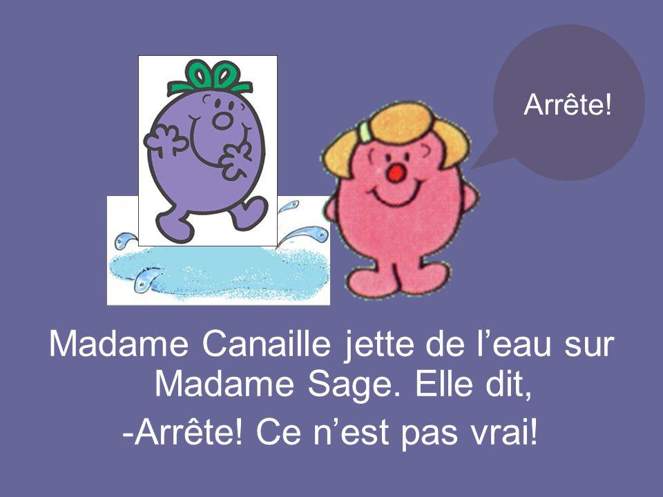 Madame Canaille jette de leau sur Madame Sage. Elle dit, -Arrête! Ce nest pas vrai! Arrête!