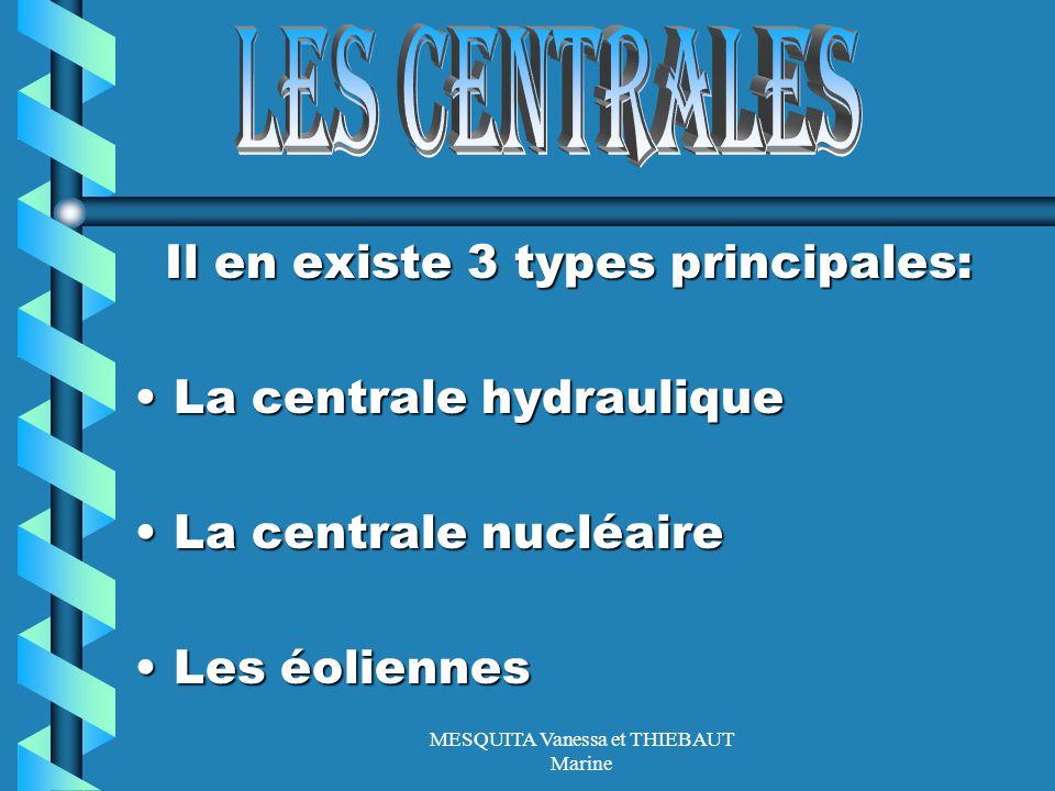 MESQUITA Vanessa et THIEBAUT Marine Il en existe 3 types principales: Il en existe 3 types principales: La centrale hydrauliqueLa centrale hydraulique
