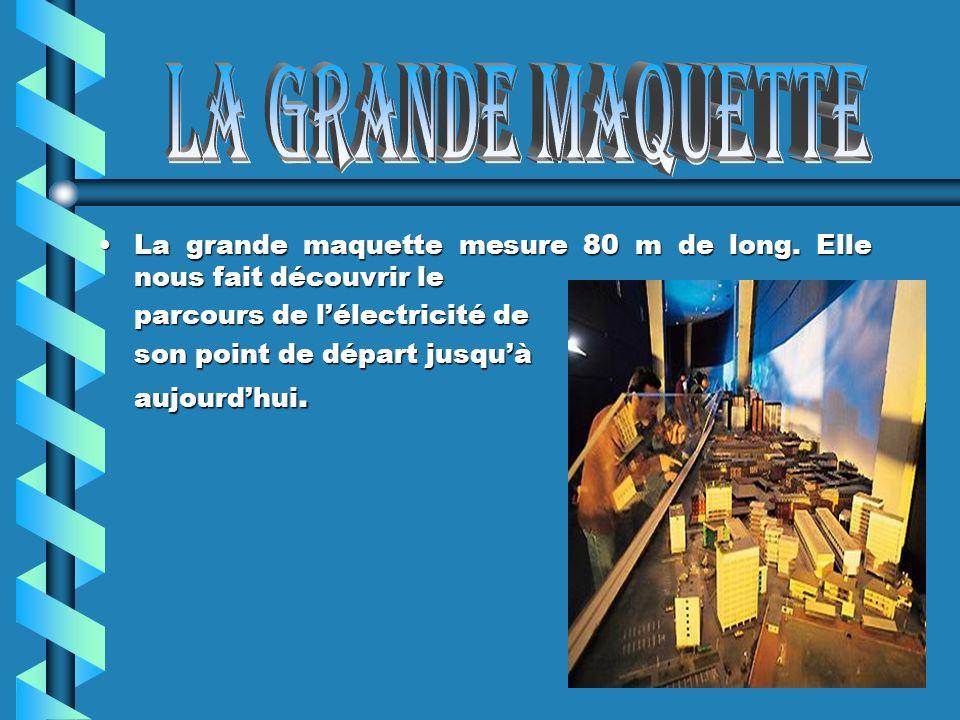 La grande maquette mesure 80 m de long. Elle nous fait découvrir le parcours de lélectricité de son point de départ jusquà aujourdhui.