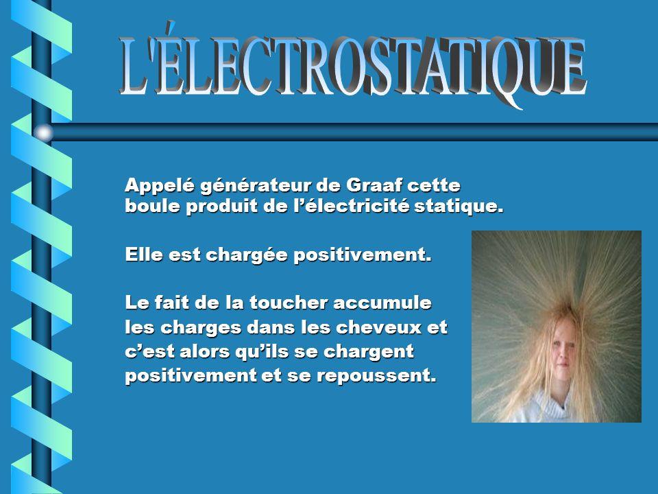Appelé générateur de Graaf cette boule produit de lélectricité statique.