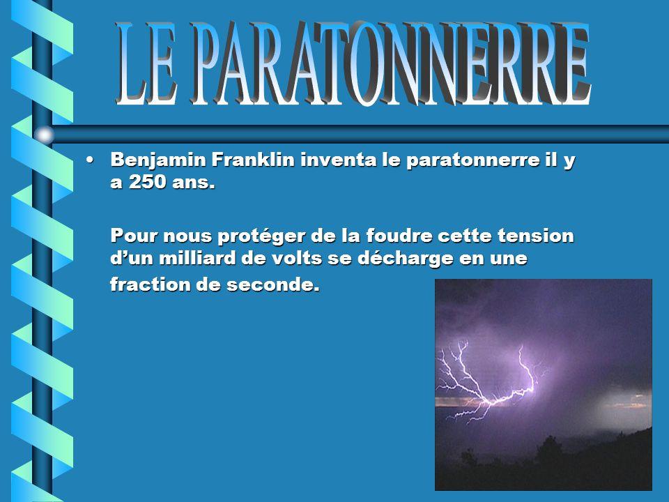 Benjamin Franklin inventa le paratonnerre il y a 250 ans.Benjamin Franklin inventa le paratonnerre il y a 250 ans. Pour nous protéger de la foudre cet