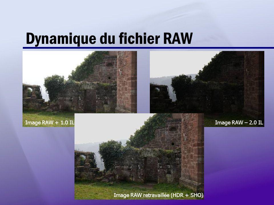 Dynamique du fichier RAW Image RAW + 1.0 IL Image RAW – 2.0 IL Image RAW retravaillée (HDR + SHO)