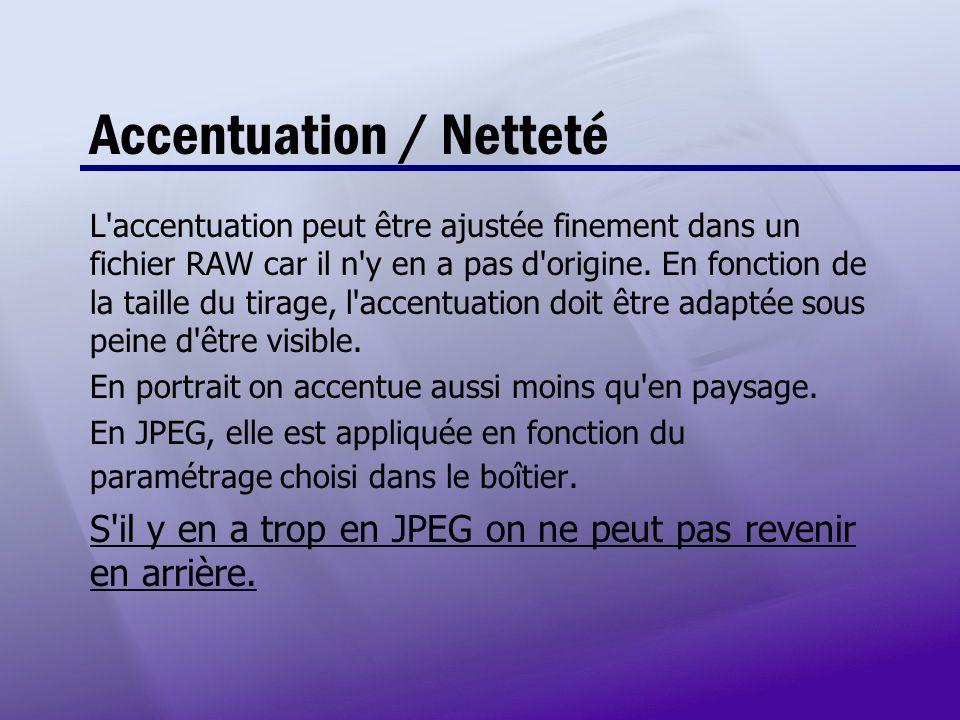 Accentuation / Netteté L'accentuation peut être ajustée finement dans un fichier RAW car il n'y en a pas d'origine. En fonction de la taille du tirage